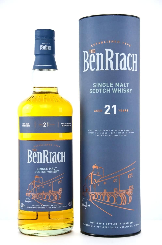 Flasche BenRiach 21 Jahre mit blauer Dose