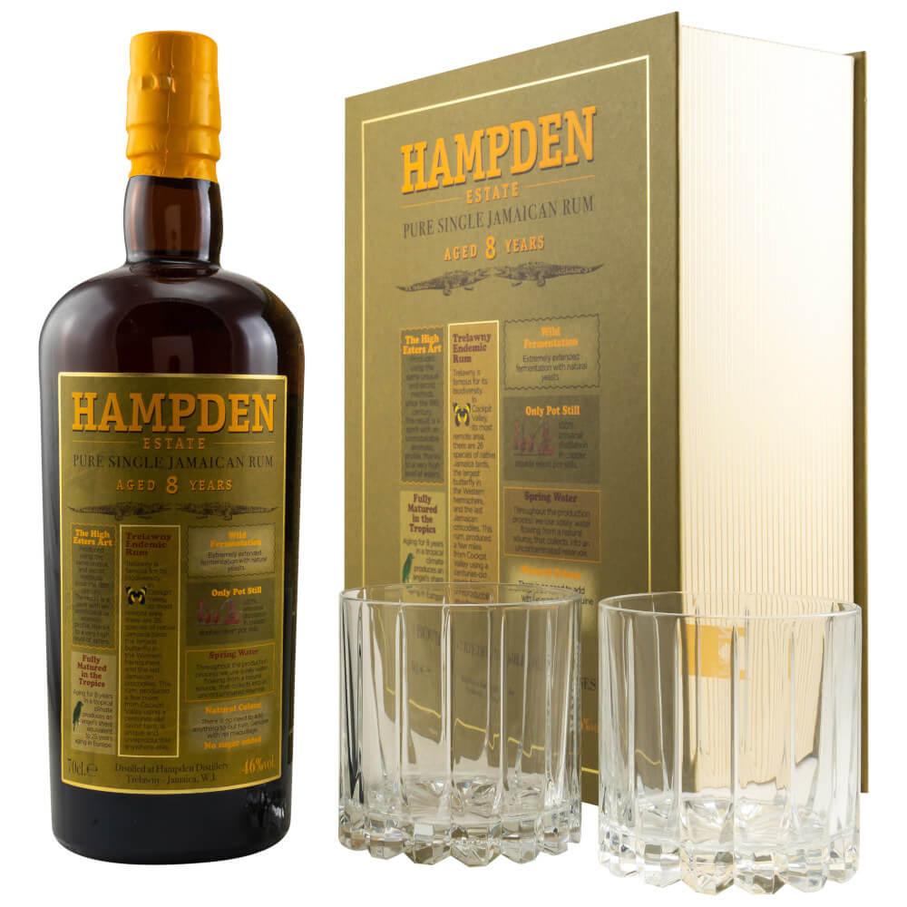 Hampden Estate Geschenkbox Rum mit 2 Gläsern