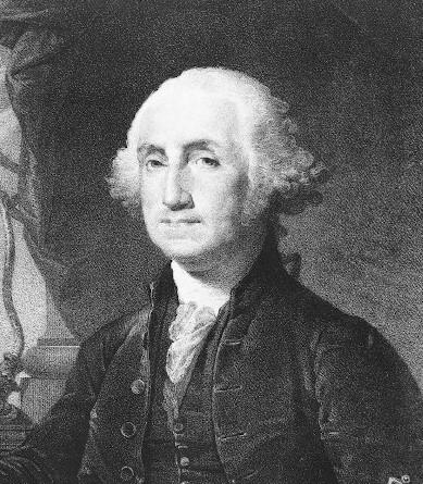 ein altes schwarz weiß Bild von George Washington