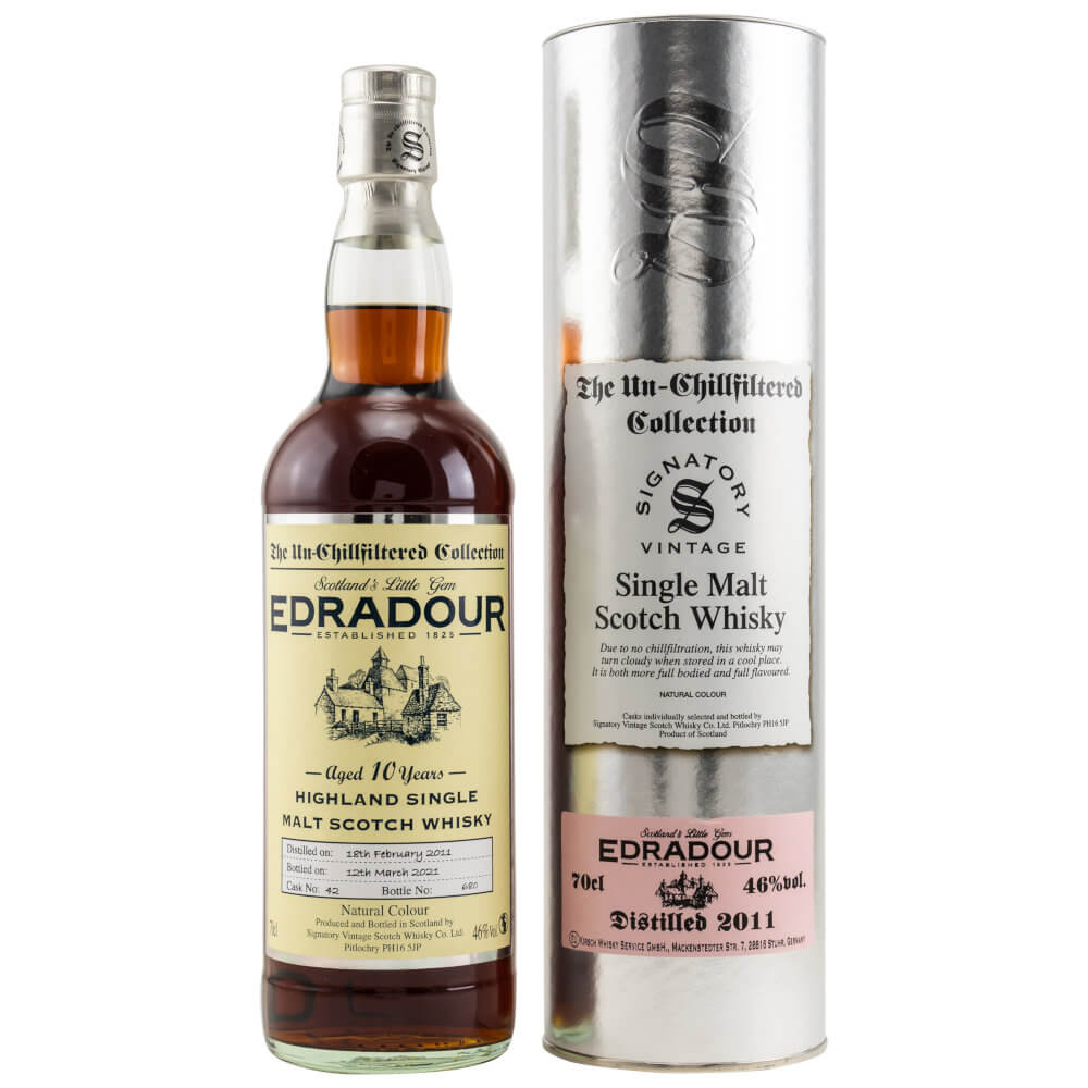 Edradour Whisky 2009-2019 mit siberner Tube