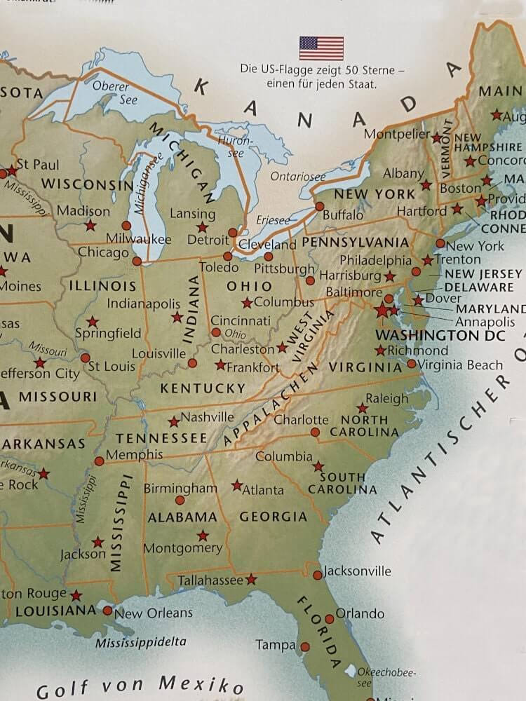 Karte der Ostküste der USA