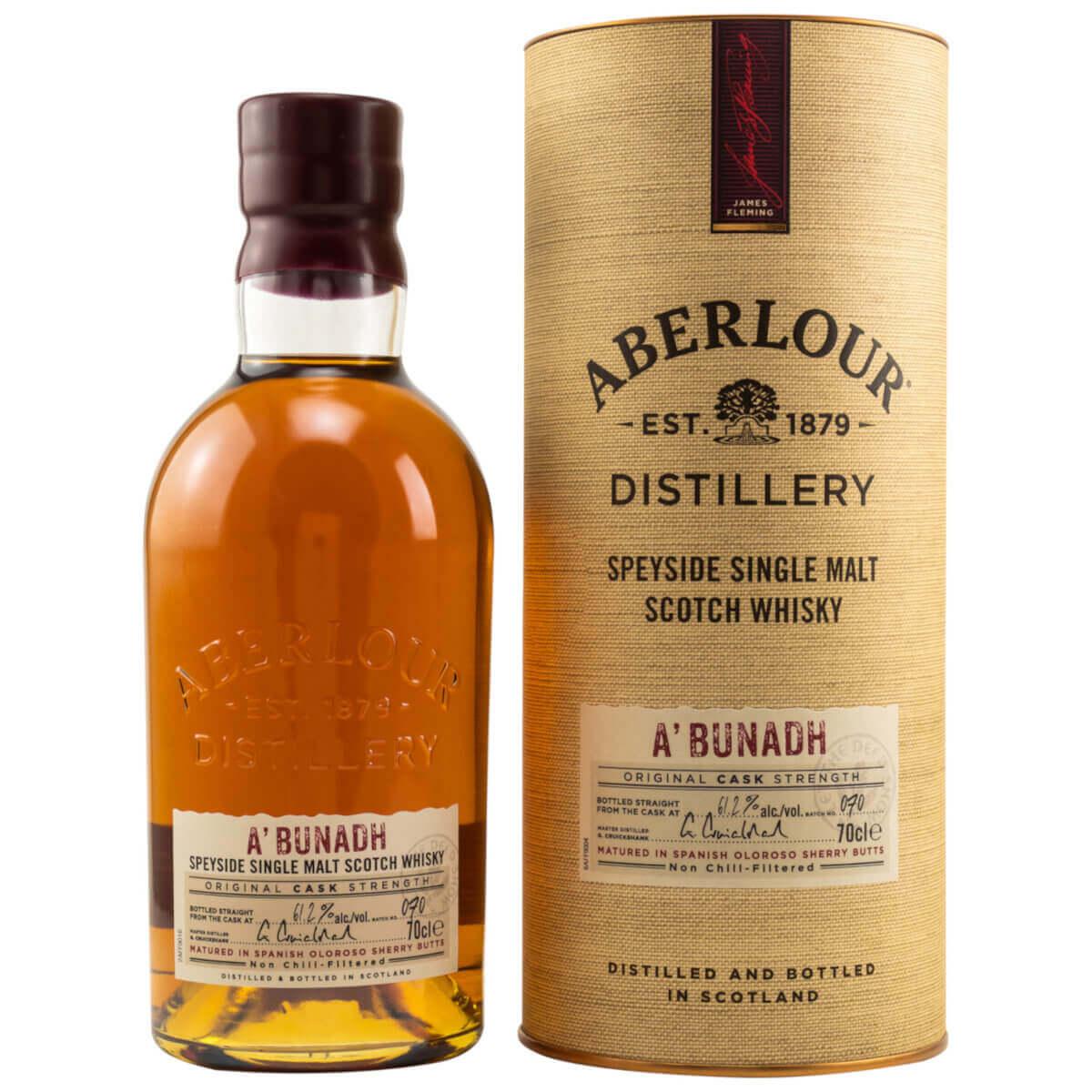Flasche Aberlour A'Bunadh Whisky mit Verpackung