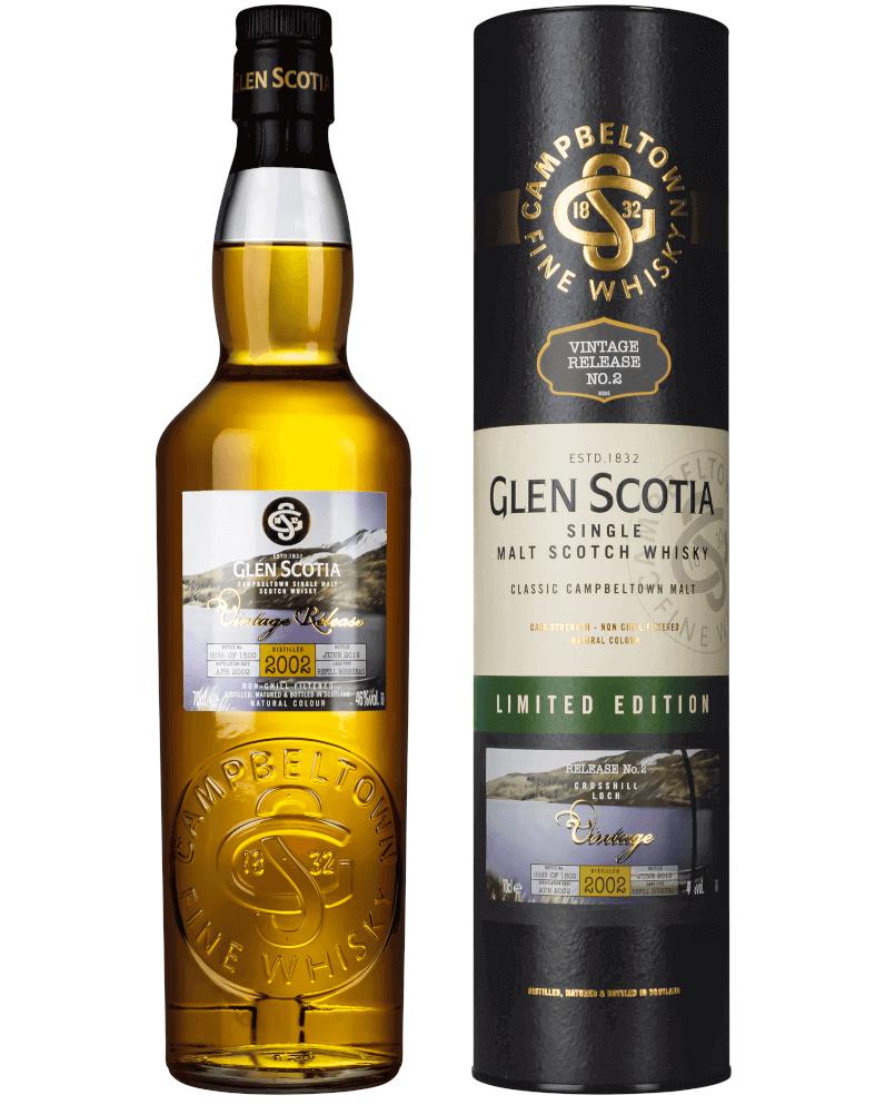 hellbraune Flasche Glen Scotia Vintage 2002 Crosshill Loch Whisky mit grüner Verpackung