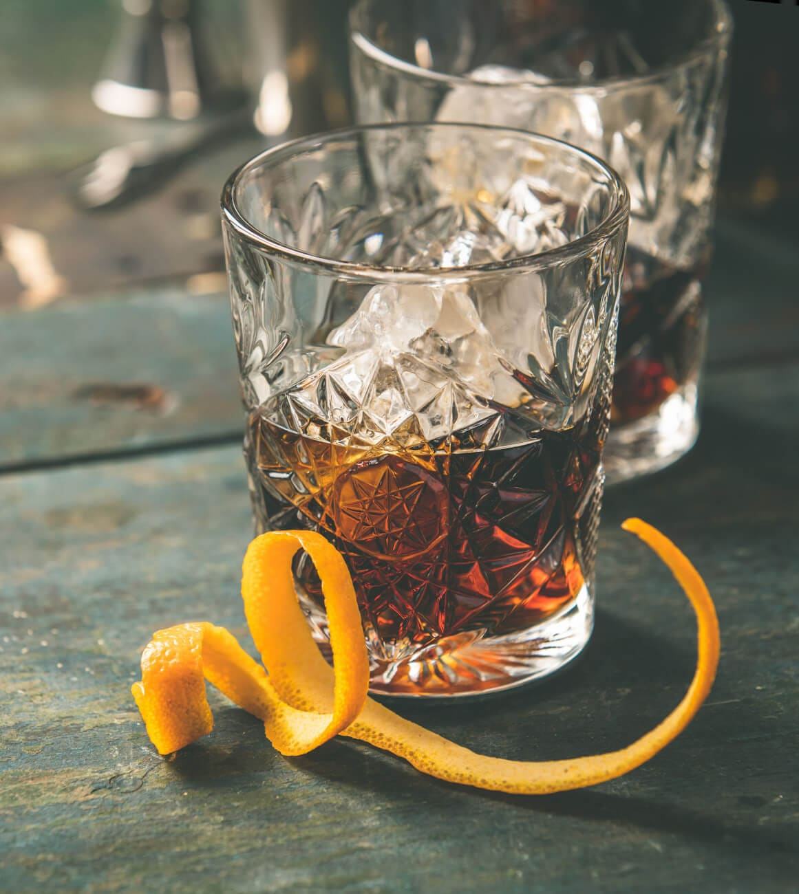 Hampden Rum on the rocks in einem Tumbler