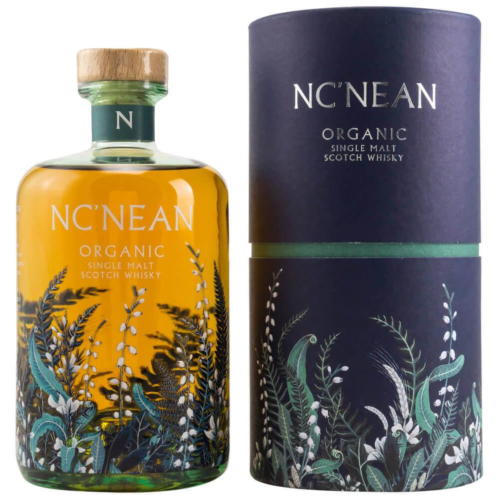 Bunte Flasche Nc'nean Organic Whisky mit blauer Tube