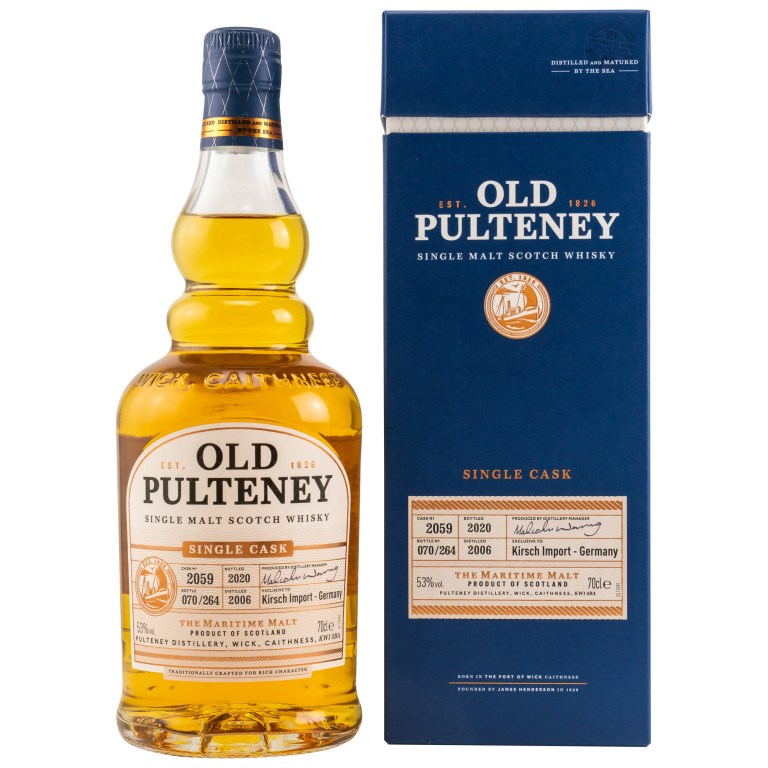 Flasche Old Pulteney Highland Whisky mit blauer Verpackung